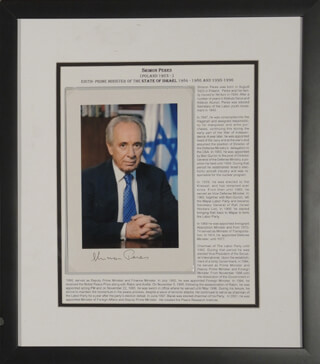 PRIME MINISTER SHIMON PERES - AUTOGRAPHED SIGNED PHOTOGRAPH
