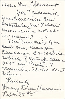 FIRST LADY MARY LORD HARRISON - AUTOGRAPH LETTER SIGNED 09/24