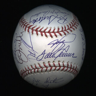 THE NEW YORK METS - AUTOGRAPHED SIGNED BASEBALL CO-SIGNED BY: ART SHAMSKY, DWIGHT DOC GOODEN, RON ROCKY SWOBODA, LEE MAZ MAZZILLI, JESSE OROSCO, JOHN FRANCO, HOWARD HOJO JOHNSON, JACK FAT JACK FISHER, CLEON JONES, TODD ZEILE, JIM MAC McANDREW, ROBIN VENTURA, JERRY KOOSE KOOSMAN, GARY CARTER, BUD HARRELSON, RON HUNT, EDGARDO ALFONZO, AL LEITER, MIKE PIAZZA, AL (ALVIN N.) JACKSON
