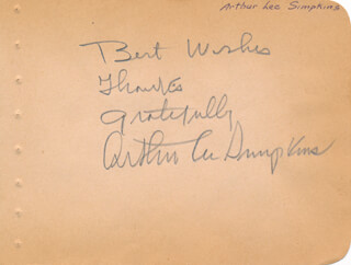 ARTHUR LEE SIMPKINS - AUTOGRAPH SENTIMENT SIGNED