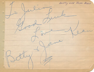 BETTY KEAN - AUTOGRAPH NOTE SIGNED