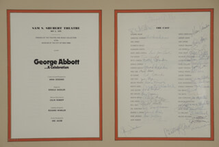 Autographs: GEORGE ABBOT...A CELEBRATION PLAY CAST - PROGRAM SIGNED CO-SIGNED BY: FRED EBB, JOEY FAYE, HAROLD HAL PRINCE, GEORGE S. IRVING, BEN GRAUER, HOWARD DA SILVA, JULE STYNE, JOHN KANDER, ANNE JACKSON, SHIRLEY MacLAINE, GEORGE F. ABBOTT, JACK GILFORD, BETTY COMDEN, ARLENE FRANCIS, JUNE HAVOC, ADOLPH GREEN, JEAN STAPLETON, BUTTERFLY McQUEEN, LIZA MINNELLI, MAUREEN O'SULLIVAN, ELI WALLACH, DONALD SADDLER, MARIA KARNILOVA, WALTER WILLISON, MARTIN GABEL, TIM CASSIDY, EDWARD EVANKO, CHRISTINE ANDREAS, RAY WALKER, BARRY PRESTON, WILL HOLT, RICHARD ALDER, DAVID THOME, SONO OSATO, STANLEY SIMMONDS, ALEXANDRA BORRIE, DAVID JAMES CARROLL, DEL HORSTMANN, JULIAN PATRICK, EDDIE PHILLIPS, ALAN SANDERSON, ROY SMITH, TIM SMITH