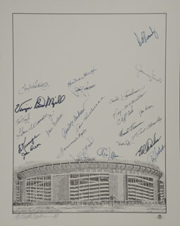 Autographs: THE NEW YORK METS - LITHOGRAPH SIGNED CO-SIGNED BY: ART SHAMSKY, RON ROCKY SWOBODA, FRANK THOMAS, DONN CLENDENON, JIM MAC McANDREW, DONALD CARDWELL, ED CHARLES, JERRY KOOSE KOOSMAN, WILMER DAVID VINEGAR BEND MIZELL, CARL (CARLTON FRANCIS) WILLEY, RON TAYLOR, J. C. MARTIN, ED KRANEPOOL, TUG (FRANK) MCGRAW, GENE WOODLING, BUD HARRELSON, KEN MacKENZIE, ROY McMILLAN, JERRY GROTE, TOMMIE AGEE, BOB PFEIL, JACK DILAURO, ALLEN WATSON, CLIFF COOK, MURRAY TINKELMAN
