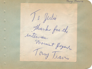 TONY TRAVIS - AUTOGRAPH NOTE SIGNED