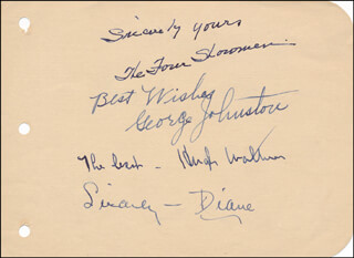THE FOUR SHOWMEN (THE SHOWMEN) - AUTOGRAPH SENTIMENT SIGNED CO-SIGNED BY: TED TALBOT, HUGH WALTER, GEORGE JOHNSTON, DIANE HERBERT