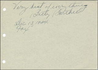 BETTY BARTHELL - AUTOGRAPH SENTIMENT SIGNED 12/13/1934