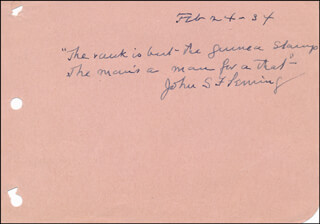 JOHN STANTON FLEMING MORRISON - AUTOGRAPH QUOTATION SIGNED 02/24/1934