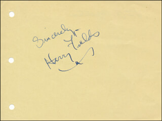 HARRY FIELDS - AUTOGRAPH SENTIMENT SIGNED