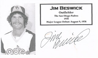 JIM BESWICK - PRINTED CARD SIGNED IN INK