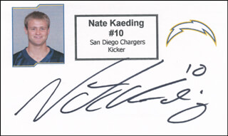 NATE KAEDING - PRINTED CARD SIGNED IN INK
