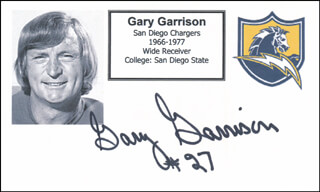 GARY GARRISON - PRINTED CARD SIGNED IN INK