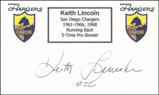 KEITH LINCOLN - PRINTED CARD SIGNED IN INK