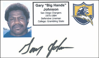 GARY BIG HANDS JOHNSON - PRINTED CARD SIGNED IN INK