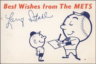 LARRY STAHL - PRINTED CARD SIGNED IN INK