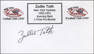 ZOLLIE TOTH - PRINTED CARD SIGNED IN INK