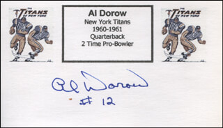 AL DOROW - PRINTED CARD SIGNED IN INK