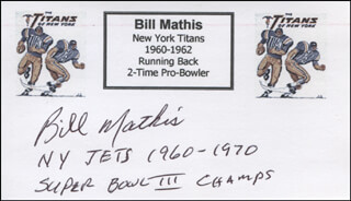 BILL MATHIS - PRINTED CARD SIGNED IN INK