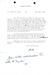 Autographs: PRESIDENT HERBERT HOOVER - TYPED LETTER TWICE SIGNED 04/30/1943
