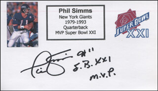 PHIL SIMMS - PRINTED CARD SIGNED IN INK