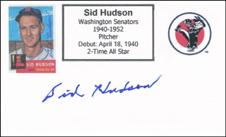 SID HUDSON - PRINTED CARD SIGNED IN INK