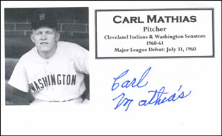 CARL MATHIAS - PRINTED CARD SIGNED IN INK