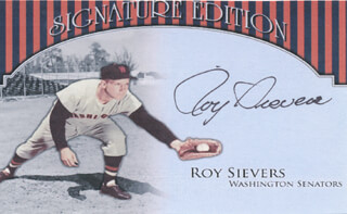 ROY SIEVERS - PRINTED CARD SIGNED IN INK