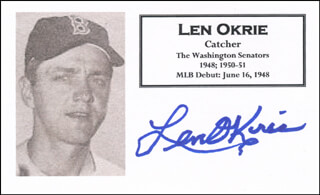 LEN OKRIE - PRINTED CARD SIGNED IN INK