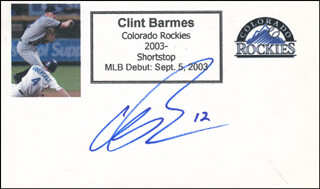 CLINT BARMES - PRINTED CARD SIGNED IN INK