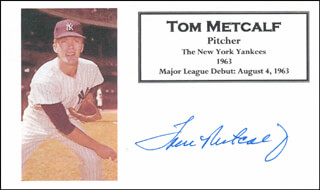 TOM METCALF - PRINTED CARD SIGNED IN INK