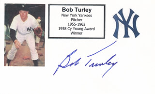 BOB TURLEY - PRINTED CARD SIGNED IN INK
