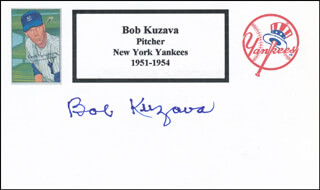 BOB KUZAVA - PRINTED CARD SIGNED IN INK