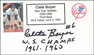 CLETE BOYER - PRINTED CARD SIGNED IN INK