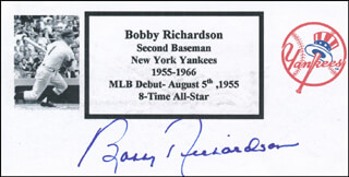 Autographs: BOBBY RICHARDSON - PRINTED CARD SIGNED IN INK