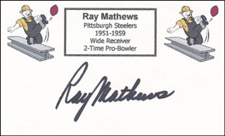 RAY MATHEWS - PRINTED CARD SIGNED IN INK