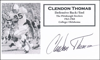CLENDON THOMAS - PRINTED CARD SIGNED IN INK