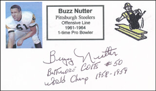 BUZZ NUTTER - PRINTED CARD SIGNED IN INK