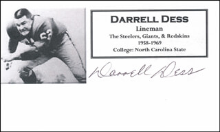 DARRELL DESS - PRINTED CARD SIGNED IN INK