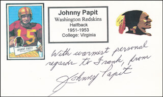 JOHNNY PAPIT - AUTOGRAPH NOTE SIGNED