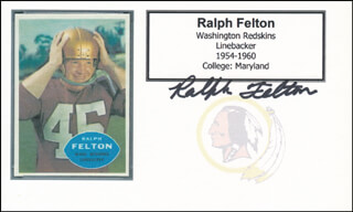 RALPH FELTON - PRINTED CARD SIGNED IN INK