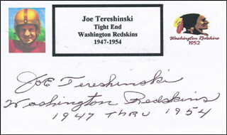 JOE TERESHINSKI - PRINTED CARD SIGNED IN INK
