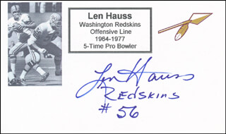 LEN HAUSS - PRINTED CARD SIGNED IN INK
