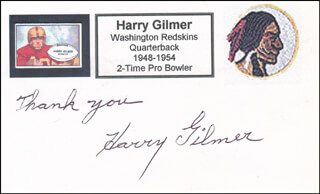 HARRY GILMER - AUTOGRAPH SENTIMENT SIGNED