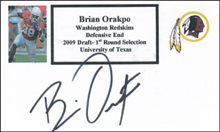 BRIAN ORAKPO - PRINTED CARD SIGNED IN INK
