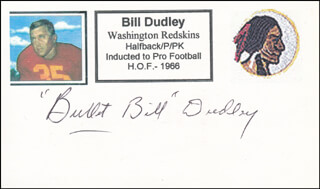 BILL BULLETT BILL DUDLEY - PRINTED CARD SIGNED IN INK