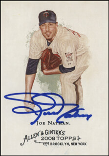 Autographs: JOE NATHAN - TRADING/SPORTS CARD SIGNED