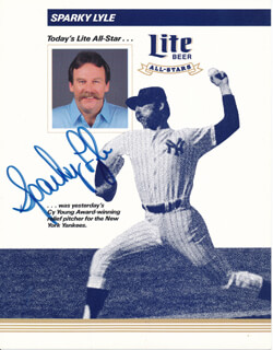 SPARKY LYLE - PRINTED PHOTOGRAPH SIGNED IN INK
