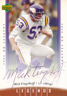 MICK TINGLEHOFF - TRADING/SPORTS CARD SIGNED