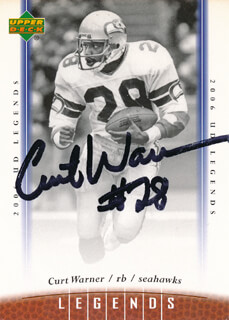 CURT WARNER - TRADING/SPORTS CARD SIGNED