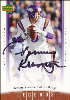 TOMMY KRAMER - TRADING/SPORTS CARD SIGNED