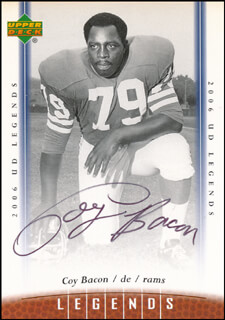 Autographs: COY BACON - TRADING/SPORTS CARD SIGNED